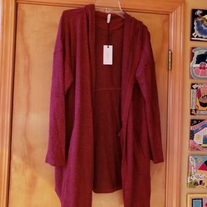 Z supply heathered burgundy long sweater m